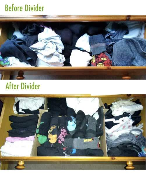 Drawers organised with a divider - before & after