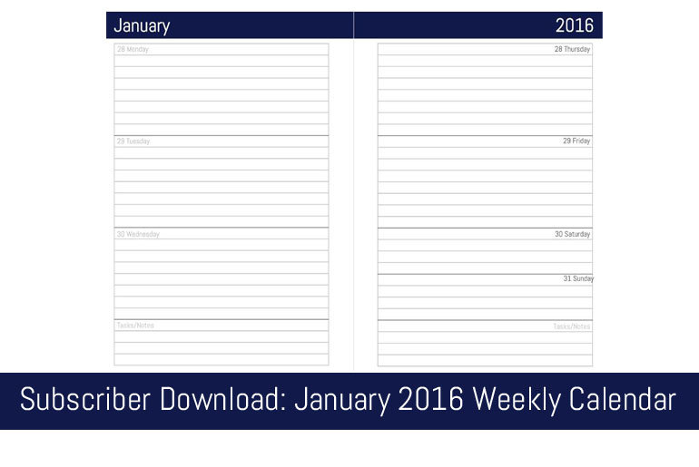 January 2016 Weekly Calendar - A5/Filofax size