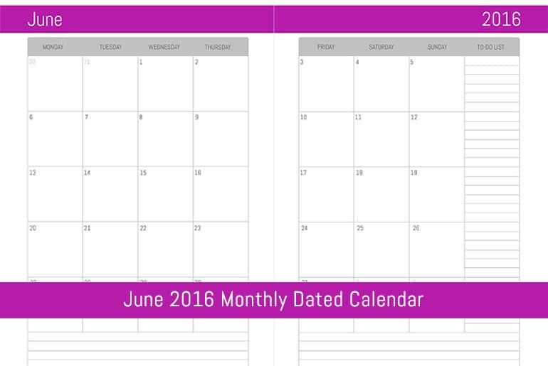 June 2016 Monthly Dated Calendar