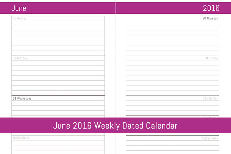 June 2016 Weekly Dated Calendar