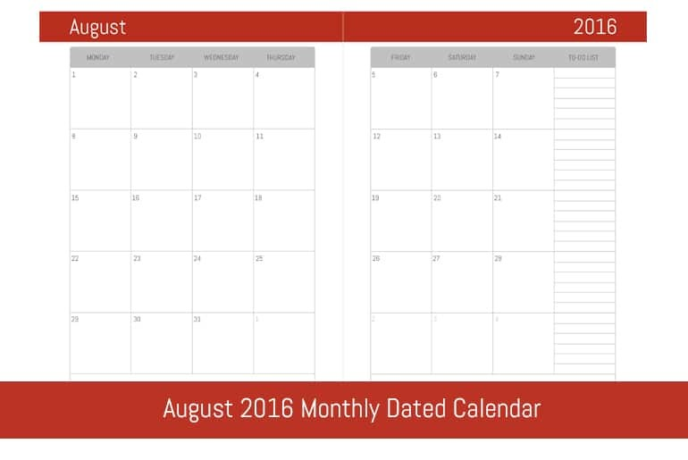 August 2016 Monthly Dated Calendar