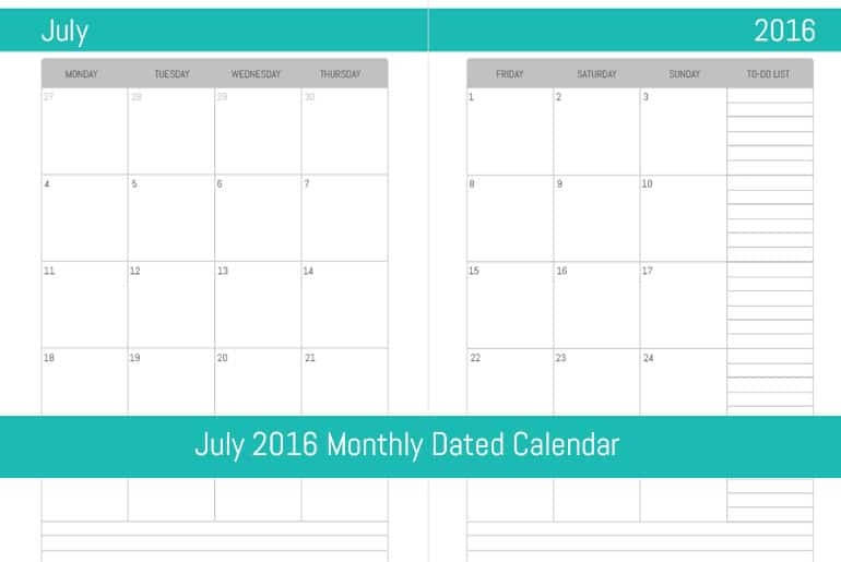 July 2016 Monthly Dated Calendar