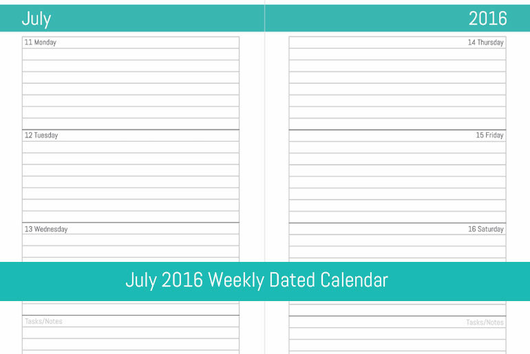 July 2016 Weekly Dated Calendar