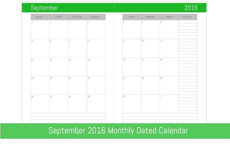 September 2016 Monthly Dated Calendar