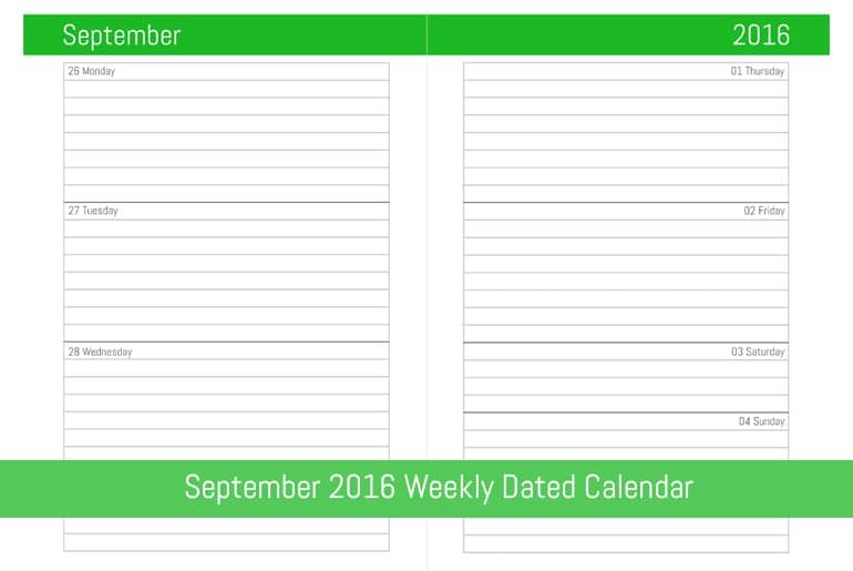September 2016 Weekly Dated Calendar