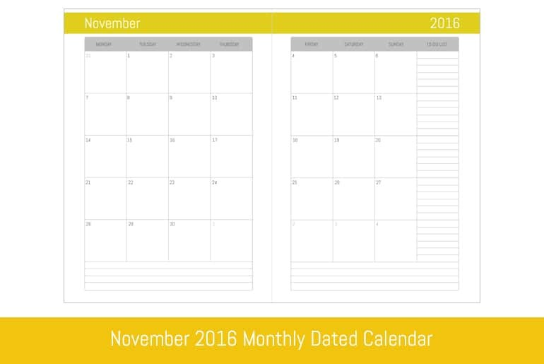 November 2016 Monthly Dated Calendar