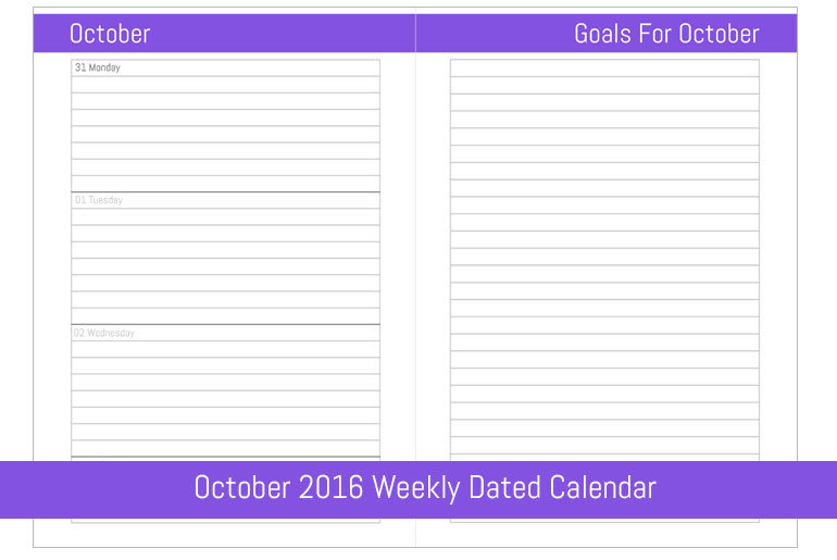 October 2016 Weekly Dated Calendar