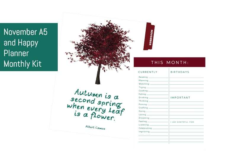 November A5 & Happy Planner Monthly Kit