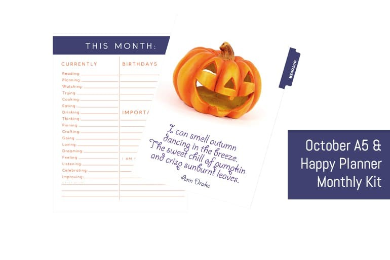 October A5 & Happy Planner Monthly Kit