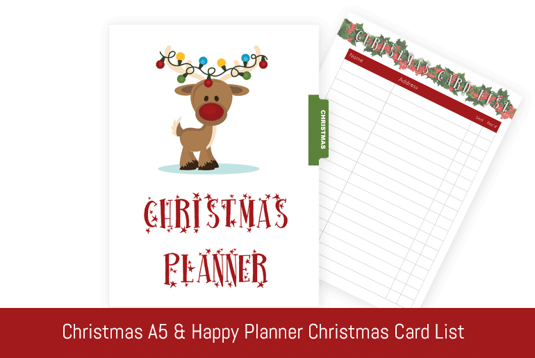 Christmas A5 & Happy Planner: Christmas Card List