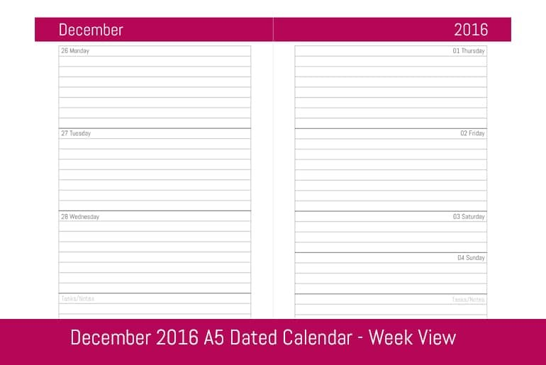 December 2016 A5 Dated Weekly Calendar