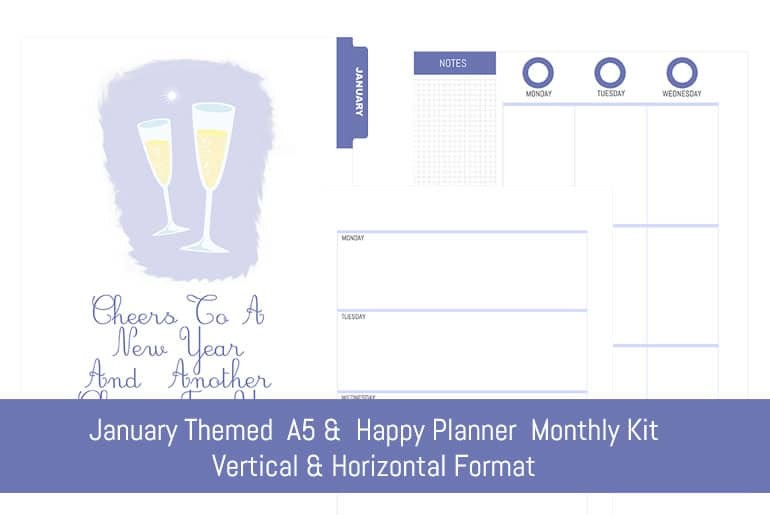 January A5 & Happy Planner Monthly Kit [Vertical & Horizontal]