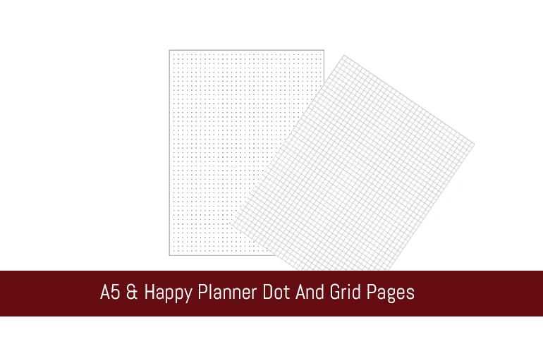 A5 & Happy Planner Dot And Grid Pages