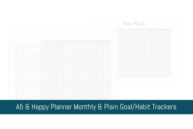 A5 & Happy Planner Monthly & Plain Goal/Habit Trackers