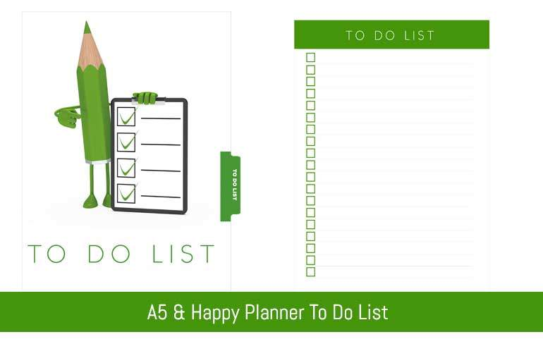 A5 & Happy Planner To Do List