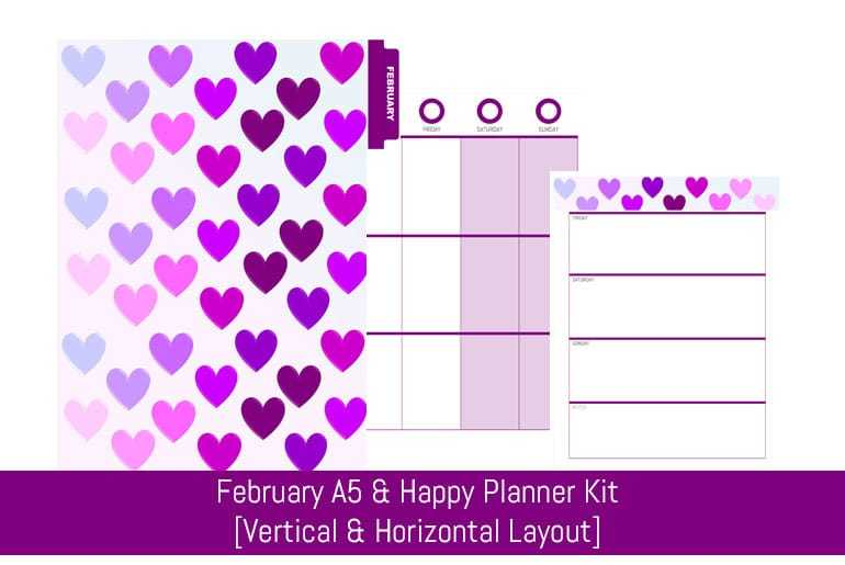 February A5 & Happy Planner Monthly Kit [Vertical & Horizontal]