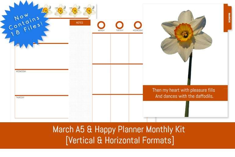 March A5 & Happy Planner Monthly Kit  [Vertical & Horizontal Format]