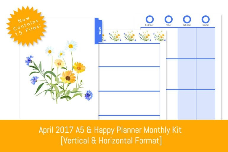 April 2017 A5 & Happy Planner Monthly Kit  [Vertical & Horizontal Format]
