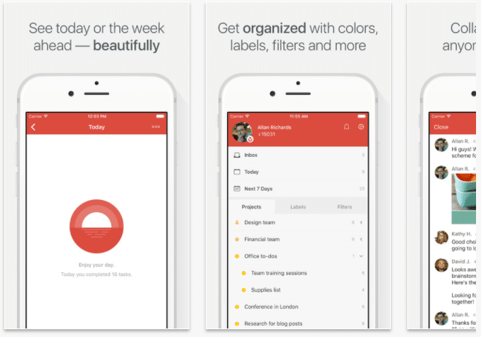 iPhone Reminders - ToDoist App