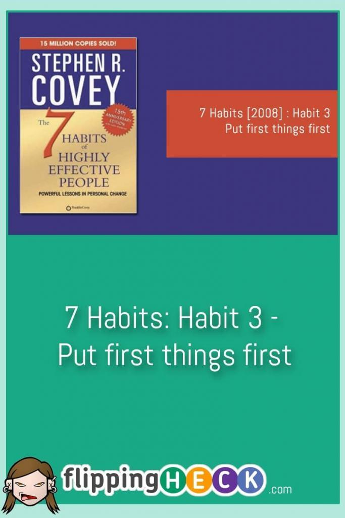 Habit 3 looks at Covey's four quadrants of urgency. We may perceive things to be urgent but are they really? We can use some of the techniques in this post to figure out what items are really worth doing. Once we've figured out what's important to us, what can be passed on to others, and what can be put on the back-burner we can.