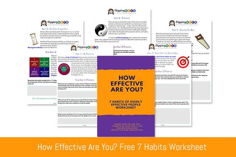 "The worksheet covers: Being Proactive - how do you deal with other people and situations? Goal Setting - understand that you need to understand the end-game in order to make progress Prioritising - how the time management matrix can affect your productivity and your relationships Compromising - understanding that you don't have to win at all costs and that the other person's desired outcome is important too. Listening - You can only understand someone, where they're coming from and what they want by listening and asking the correct questions Agreement - Learn how to use the previous skills to achieve a consensus that everyone in the group can get behind Practice Makes Perfect - Reflect on all of the skills in the ""7 Habits"" and continue to improve and work on them"