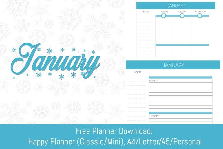 January Themed Planner Insert Kit - Multi-Planner Download