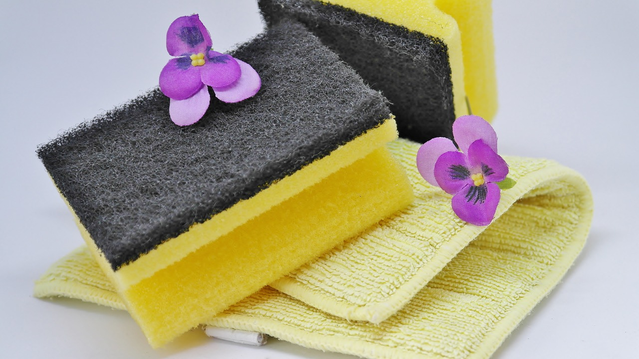Sponge on a pile of cloths