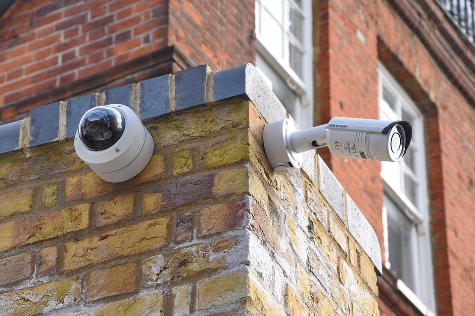 Security cameras on a wall