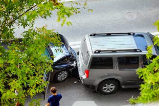 View of car crash on a street