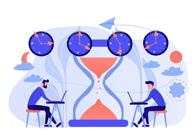 Illustration of two people working in different time zones