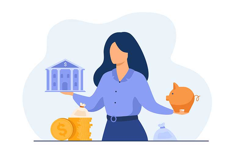 Woman choosing between a loan and savings
